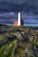 Fisgard Lighthouse (HDR) (Brandon Godfrey) Tags: world pictures lighthouse canada nature water beautiful clouds wonderful landscape photography coast photo nationalpark amazing scenery rocks bc photos shots pics earth britishcolumbia details picture pic scene victoria vancouverisland pacificnorthwest northamerica