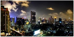 Bangkok Downtown with Black Obelisk (I Prahin | www.southeastasia-images.com) Tags: road city panorama colors skyline architecture night clouds skyscraper thailand hotel bangkok radisson business angels thai metropolis cbd sukhumvit sathorn earthasia themetbanyantree