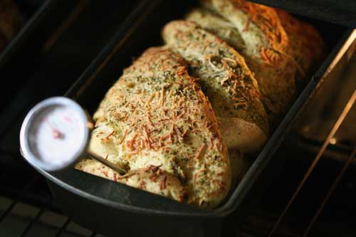 pesto bread, out of oven
