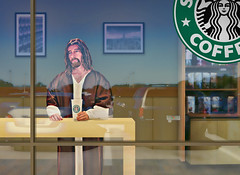 WWJD? (AdamBaronPhoto) Tags: coffee jesus starbucks judgement wwjd whatwouldjesusdo