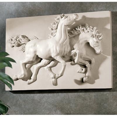 "ANIMAL DANCING HORSES SCULPTURAL ART STATUE WALL FRIEZE 18"" www.NEO-MFG.com"