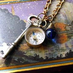 Sea Traveler's Vintage Button Necklace (calloohcallay) Tags: blue glass vintage skeleton necklace key jewelry button compass calloohcallay
