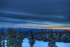Sunset view from Mount Hood Timberline Lodge Oregon - HDR (David Gn Photography) Tags: trees sunset sky mountain snow clouds landscape skiing view dusk skiresort threesisters mounthood hdr slope skilodge mountjefferson timberlinelodge winterscenery canoneos7d sigma1020mmf35exdchsm