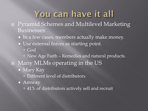 schemes. This gave me a good insight on how pyramids businesses