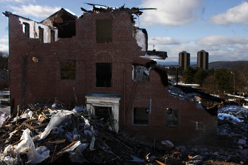 January 7, 2010 - The university apartments at UMASS off of North Pleasent St are in the process of being torn down.