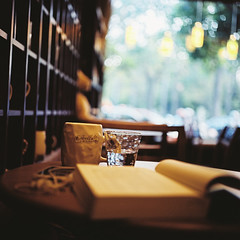 Relaxing (Fabienne Lin) Tags: life 120 6x6 film coffee rolleiflex book cafe afternoon kodak bokeh relaxing daily read pro160 squareforamt
