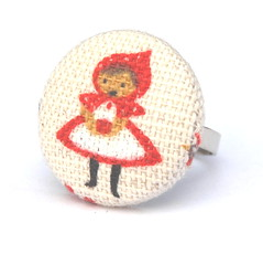 linen red riding hood ring (buttonsbyloulou) Tags: handmade australia etsy hairaccessory madeit fabriccoveredbuttons buyonline buttonsbyloulou