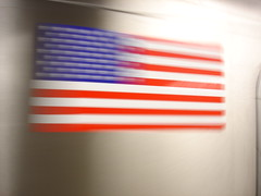 USA flag on NYC subway while passing my way