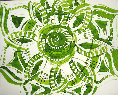 Mandala drawn with folded pen and Diamine Light Green Ink