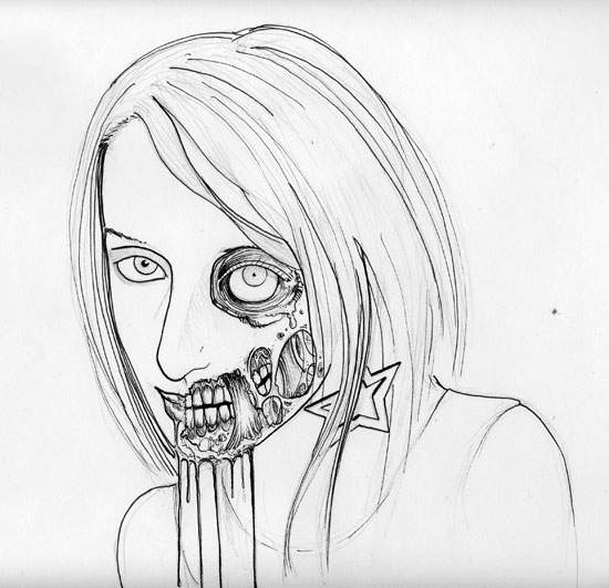 christopher-williams-zombie-art-inkingZombie Face Drawing