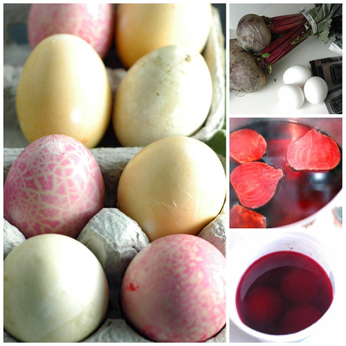 Pink naturally dyed Easter eggs