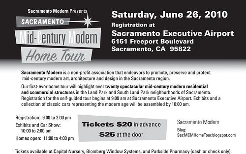 Sacramento Mid-Century Modern Home Tour 2010 Postcard -- Back