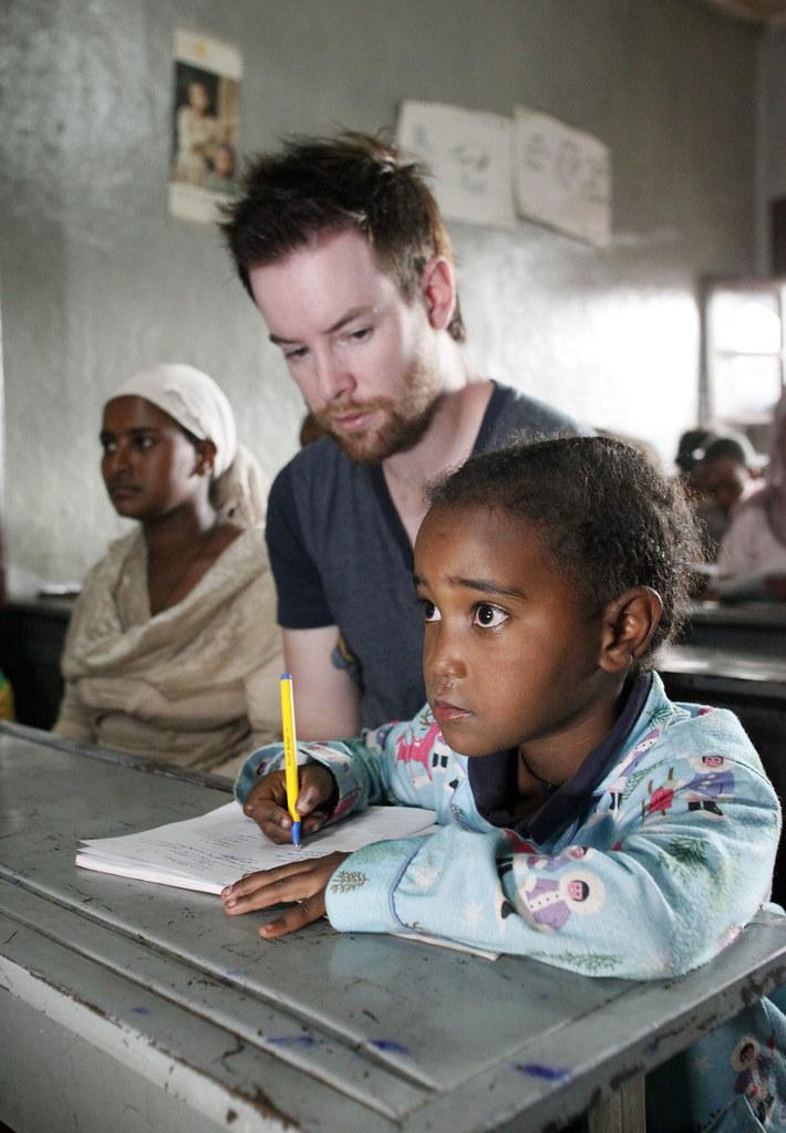 David Cook observes 7-year-old Mekdes do her math