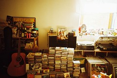 (risaikeda) Tags: music records film window rock 35mm poster toys lights lomo room guitars books lomolca turntable cds speakers vinyls solaris
