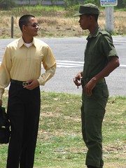 Comparing Notes (Legin_2009) Tags: road street people man black male men guy grass shirt standing soldier army person persona couple uniform slim pants gente african military indian duo pair guys personas cap males caribbean conversation persons talking dressed hombre hommes männer homme fatigues hombres mec люди mecs 男子 gason אנשים الرجال पुरुषों 男子hommes 男性homens