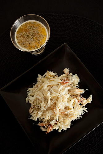 Shredded dungeness crab and lemon butter sauce