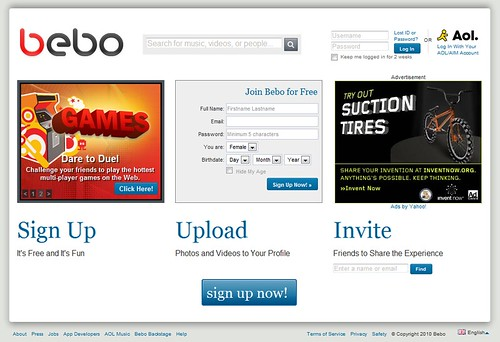 Bebo - Front Page