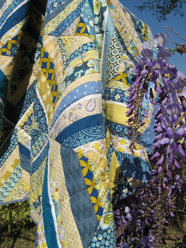 string quilt with wisteria