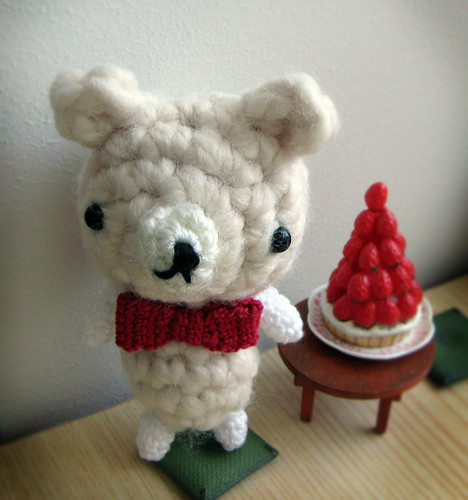 Amigurumi Ivory Bear with Red Bow Tie
