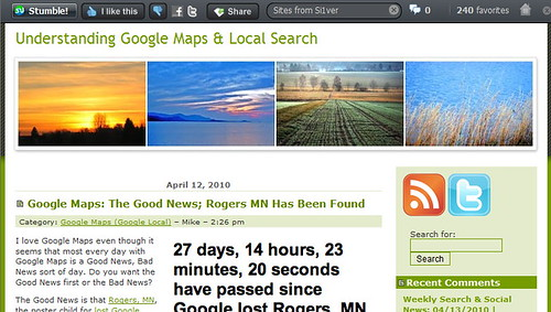 Screengrab of Mike Blumenthal's Blog Post About Rogers, MN