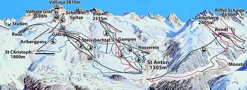 Mapa de pistas de St. Anton