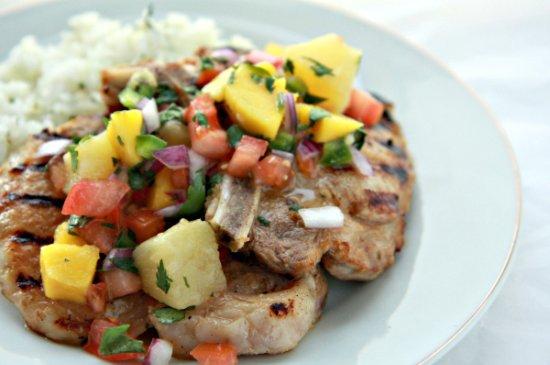 Pork Chops with Mango Pineapple Salsa 550