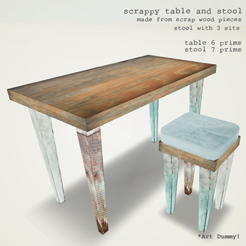 scrappy table and stool