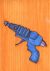 Toy Ray Gun (Homemade Pop) Tags: art artwork artist folkart outsiderart folk originalart contemporary drawings pop popart homemade marker prints prismacolor foodart doodling 5x7 magicmarker foodpackaging pilotpen cheapart retroart brightart originalillustration quirkyart