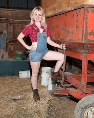 Connie at Farm (speedwaygirl81) Tags: barn farm country blonde overalls flannel farmgirl countrygirl barngirl