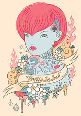 pretty in ink (james murphy (sns)) Tags: woman cute art tattoo illustration design drawing character tattoos stuff anchor dagger swallow puke smileyfaces fecalface