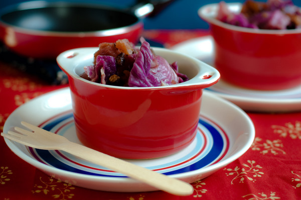 Red cabbage braised with apple, bacon & balsamic vinegar