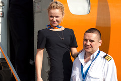 Region-Avia crew (Osdu) Tags: portrait people man girl airport russia aircraft aviation airplanes flight crew airlines stewardess attendant pilot dme embraer airhostess stewardes htesse azafata aeromoza regionavia