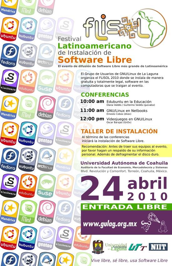 Poster Flisol 2010 en la Comarca Lagunera
