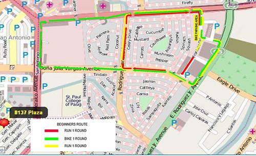 the urban duathlon 2010 beginners race map