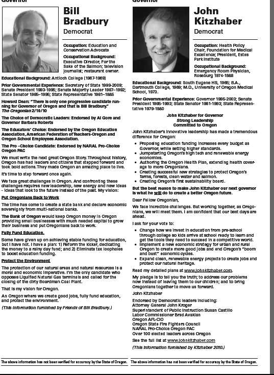 Bill Bradbury and John Kitzhaber in the Oregon Voters' Pamphlet