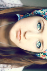 i love begginings; i hate ends (elise **) Tags: blue portrait france girl canon 50mm eyes photographie elise explore foulard f18 fille 450d elisenotseck lilibloody