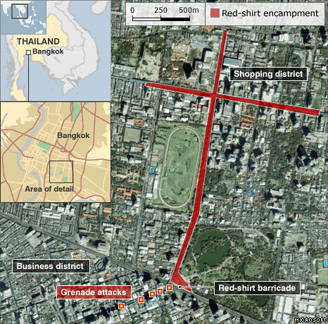 Map of Bangkok blasts