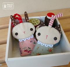 Rosy & Ginger - key cover (mochikaka) Tags: cute rabbit bunny girl animals cat vintage women keychain handmade kawaii etsy zakka lanyard keycase keycover