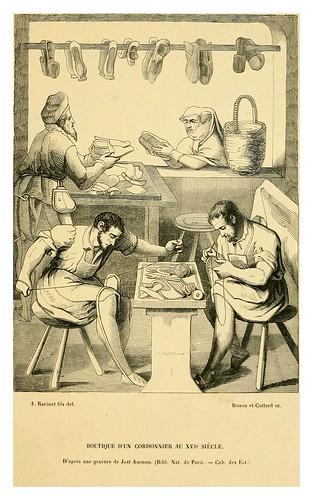 013-Negocio de un zapatero en siglo XVI-Histoire de la chaussure depuis l'antiquité-1862- Paul Lacroix y Alphonse Duchesne