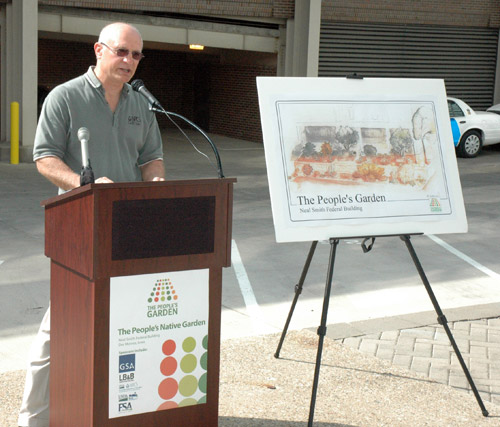 Rich Sims speaks at the Des Moines People's Garden groundbreaking ceremony