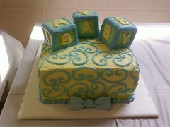 Scrolls-n-blocks (LeckieAnne) Tags: blue baby yellow cake shower blocks bows scrolls