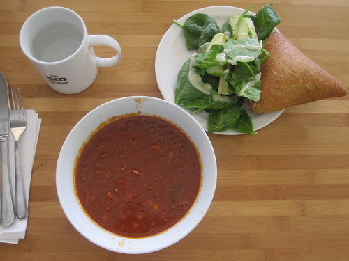 Chili, salad, bread, yogourt (not in pic) - $6 from bistro