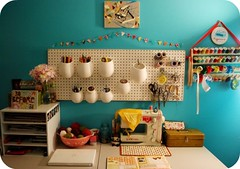 studio space! (janel m) Tags: vintage studio turquoise space creative organized bunting pegboard craftroom thriftfinds