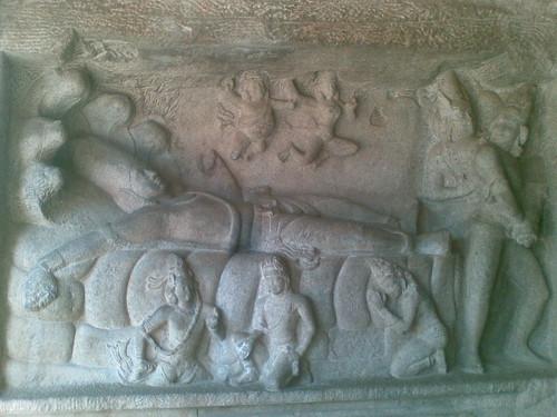 Anantasayana Panel, Mahishasuramardini Mandapam, Mamallapuram