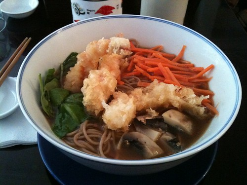 Rice & Fish: Soba with prawns