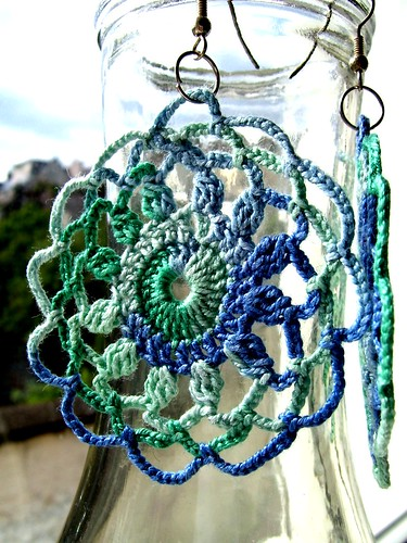 crocheted doily earrings