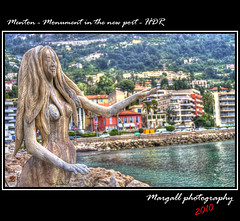 Menton - Monument in the new port - HDR  by Margall - (Margall photography) Tags: sea costa france port canon photography porto marco 105 provence mermaid 35 francia ef hdr sirena menton mentone 30d azzurra galletto margall garavan