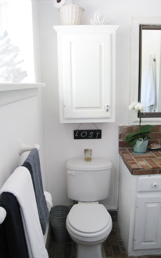 Brick Beach Bathroom+decorative coral