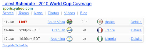 World Cup 2010 Schedule Yahoo Shortcut