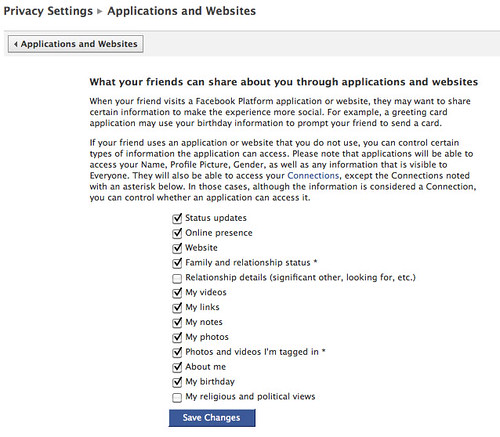 Privacy settings: Apps and website information sharing